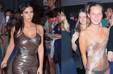 Ким Кардашиян 2016 VS. Кейт Мос 1993 и една прозрачна сребърна рокля
