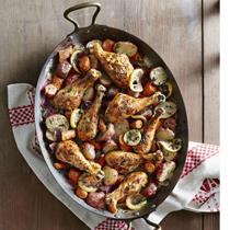Пилешки бутчета със зеленчуци и горчичено-естрагонов сос