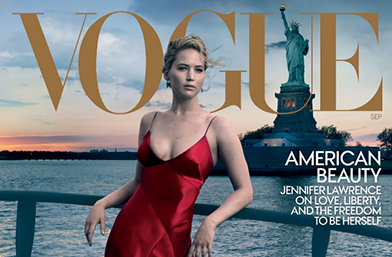 Американската красота на Дженифър Лорънс за юбилейния септемврийски Vogue