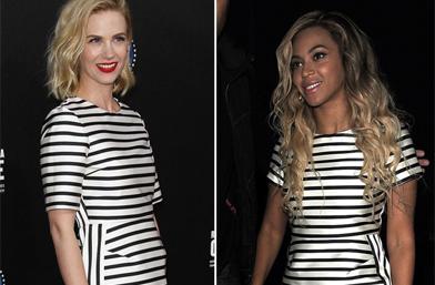 Коя я носи по-добре - Бионсе и Дженюъри Джоунс в роклята райе на Topshop
