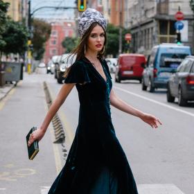The Passenger in the velvet dress