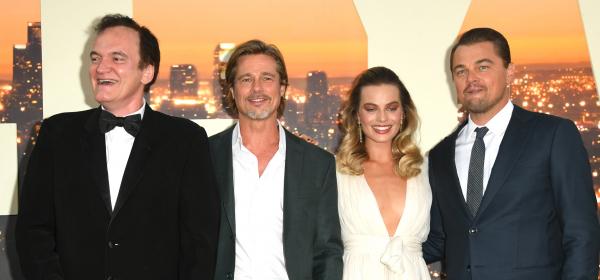 Трима мъже и една малка дама: Куентин, Брад, Лео и Марго на премиерата на Once Upon a Time in Hollywood