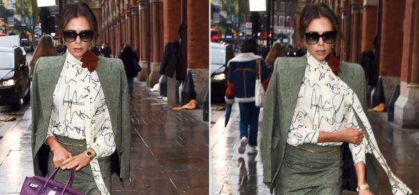 Уличният стил на звездите: Виктория Бекъм с Birkin в цвят лилав