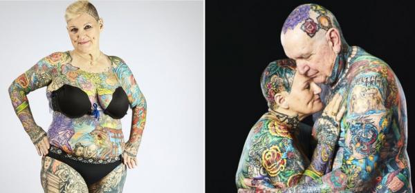 Жената, на 70, с най-много татуировки в света, и мъжът й