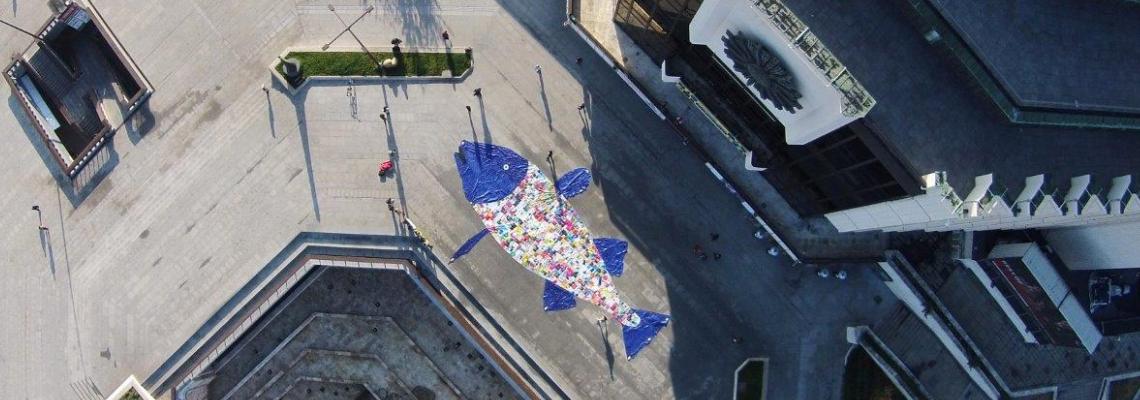 Двадесет и пет метрова риба от 800 полиетиленови плика се появи пред НДК