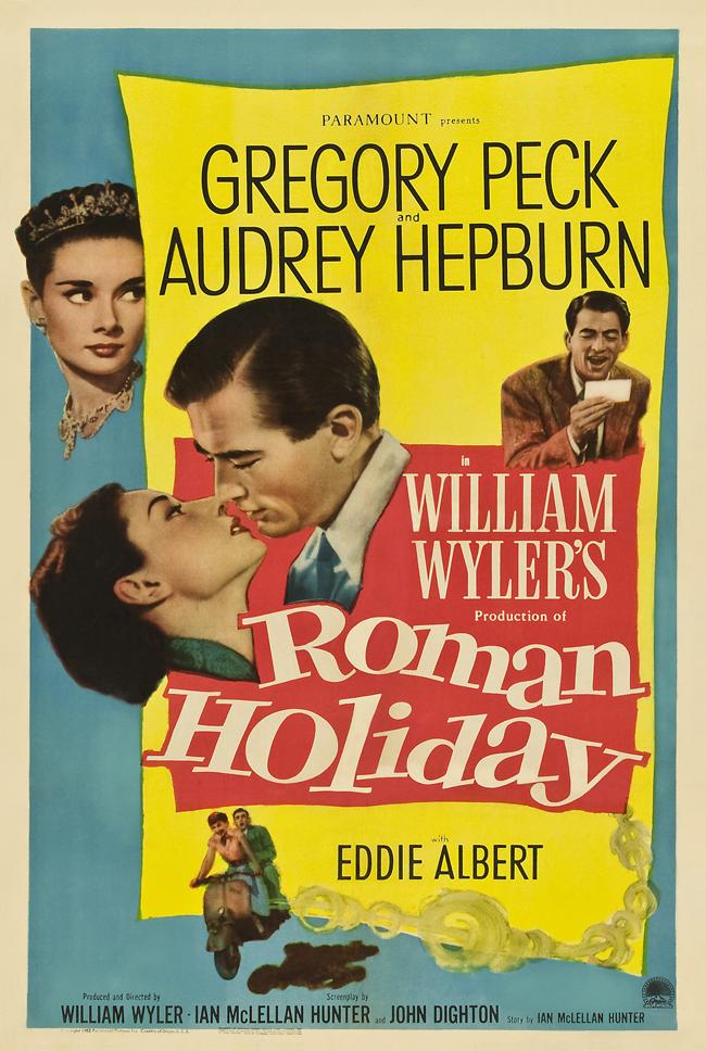 """Roman Holiday, 1953 Филмът е номиниран за десет награди """"Оскар"""", от които Одри Хепбърн успява да вземе една за ролята си на съвременна принцеса, разбунтувала се срещу дълга си на кралска особа. Тя се запознава с Грегъри Пек - американски репортер, търсещ сензация, който се преструва, че не знае истинската й самоличност. Но плановете му се променят, когато между тях пламва любов. Еди Албърт допринася за доброто настроение с чудесното си изпълнение в ролята на безотговорния оператор на Пек."""