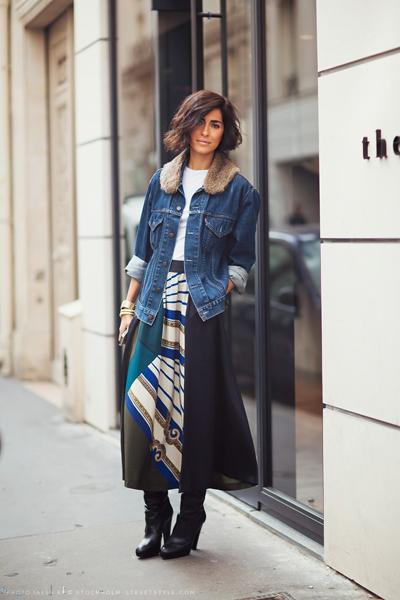 Разкошна, леко ретро, малко кънтри визия с дълга пола, деним и страхотни високи ботуши в седемдесетарски стил.Carolinesmode.com