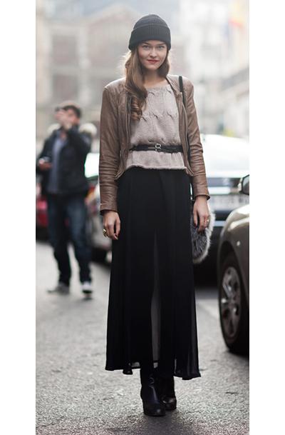 Харесваме този чудесен контраст между топлата шапка и прозрачната пола.stylecopycat.blogspot.com