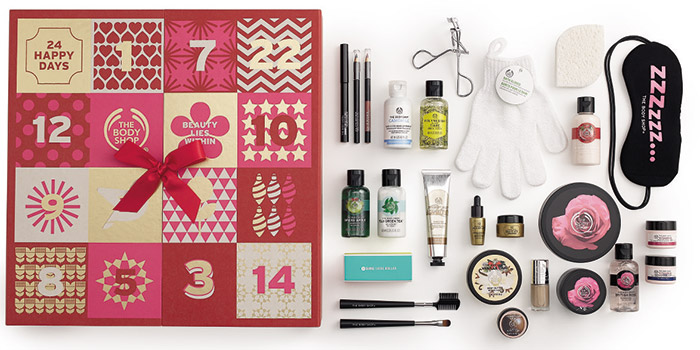 THE BODY SHOP 137/200/230лева Тази година The Bodu Shop предлага цели три вариант на коледен календар, като всеки е различен бюджет. Във всеки един обаче се крият 24 продукта, които са комбо от грижа кожата и тялото и грим и парфюми.