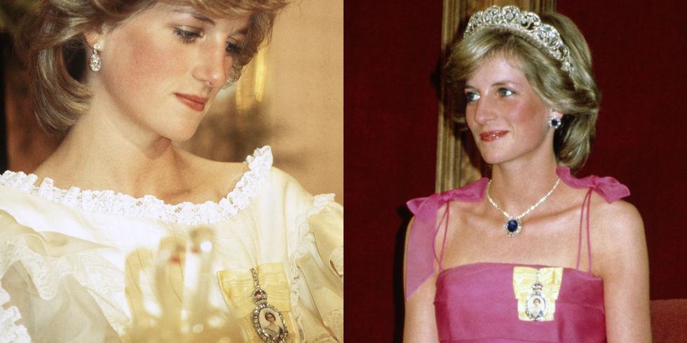 """Брошка  По време на официални събития, Даяна често носи брошка, прикрепена за роклята й. Ако се вгледате по-добре, ще забележите, че това е образът на кралица Елизабет II. Брошката носи името """"Семейният орден на кралица Елизабет"""" и се дава на определени дами от кралското семейство. Бижуто изобразява младата Елизабет II върху дантела, украсена с диаманти и е задължително да се носи на лявото рамо. И преди да попитате, ще ви кажем, че Кейт Мидълтън все още не е удостоена с тази чест. Очаква се да я получи тази година."""