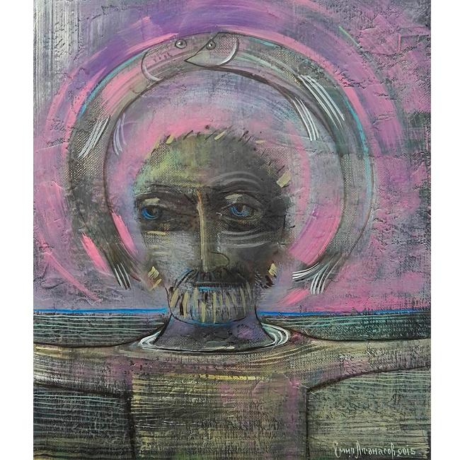 """Великолепната малка картина на пловдивския художник Емил Атанасов - """"Свети Никола"""", защото домът ни заслужава едно красиво и свещено лилаво покровителство.  Изложбата на Емил е в Галерията на НДК, от 18-ти до 23-ти декември. 500 лева"""