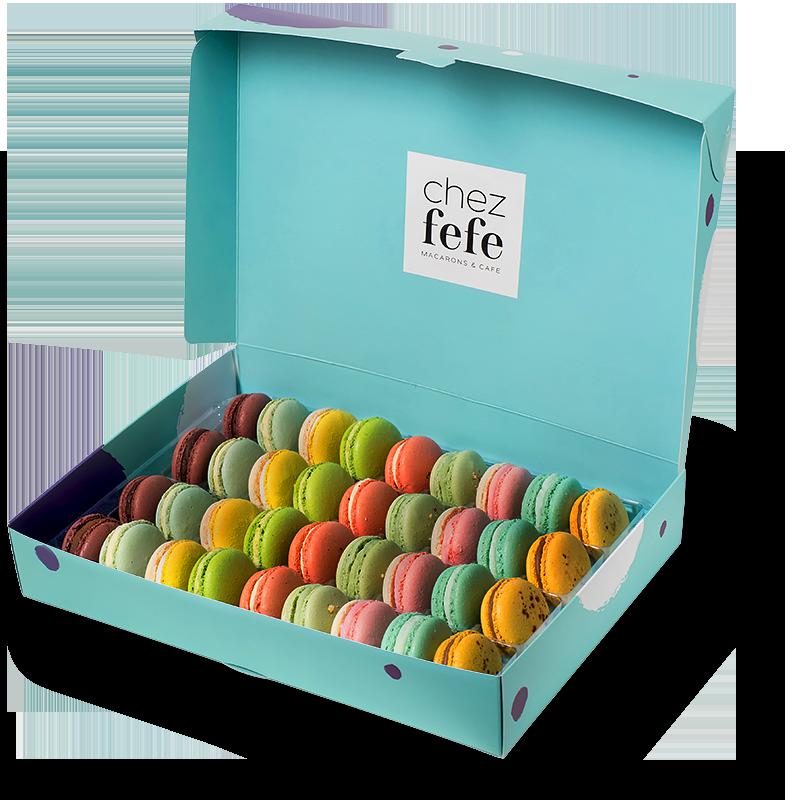 Френски макарони от Chez Fefe, цели 36 броя dolce vita за хубаво настроение. 61 лв. chezfefe.com