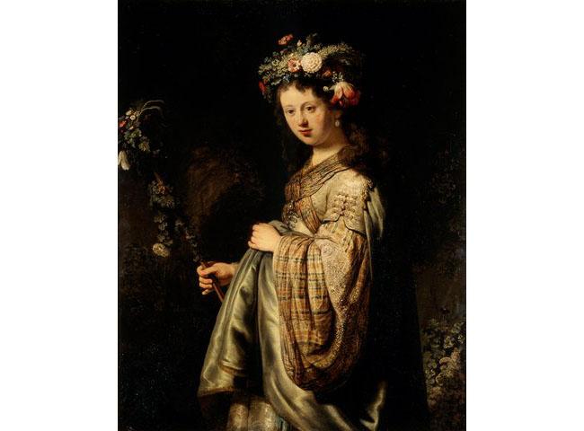 """""""Флора"""" на Рембранд. Когато той рисува богинята на изобилието, негов модел е бременната му жена Саския. Корона от цветя окичва косите ѝ, символизирайки плодовитостта на пролетта, на земята и на жените."""