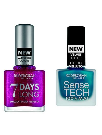 7 DAYS LONG на Deborah Висококачествен, изключително дълготраен, устойчив на лющене лак за нокти с уникален Eporesin комплекс, който подобрява еластичността на нокътната плочка. Лакът за нокти придава ултра блясък и изискан емайл на маникюра. Избираме празничната лила, защото е неустоима.Sence Tech пък е с уникално покритие, 100 % матира ноктите и ги прави нежни като кадифе.11.70 лв.