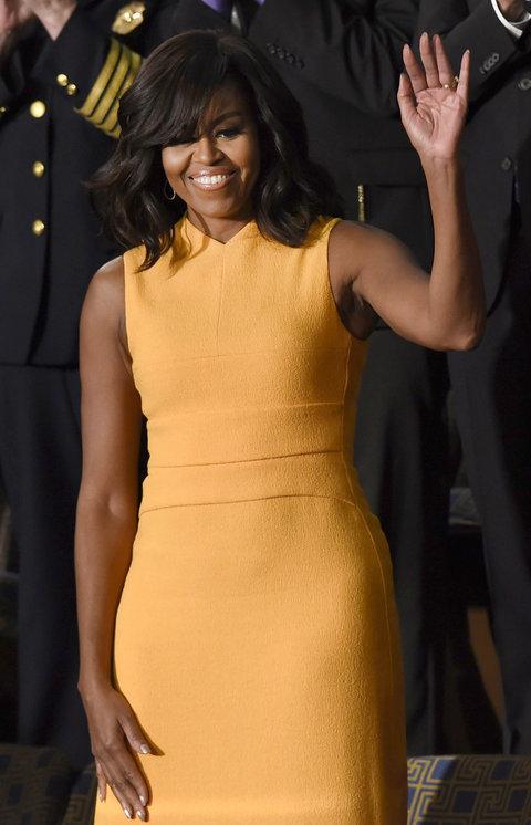 2016: В жълта рокля дело на Narciso Rodriguez.