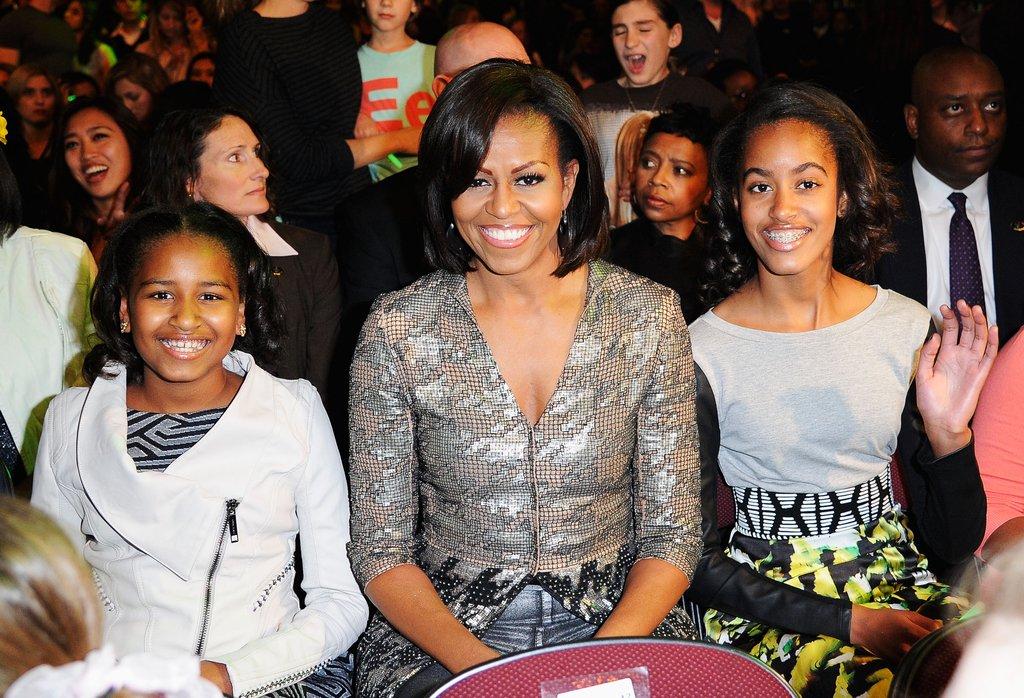 Саша, Мишел и Малия на наградите на Nickelodeon през 2012г.
