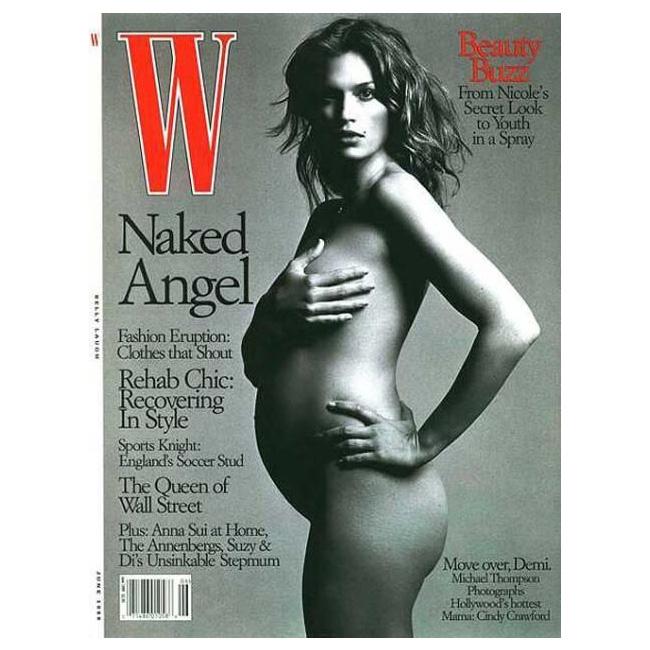 1999 г. Бременната с първото си дете Синди на корицата на W.