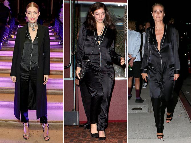 Стенената пижамка на Fleur du Mal Явно да се носят луксозни пижами на публично място или събитие вече е много, много модерно. Първа беше Джиджи Хадид именно в пижамения гащеризон на Fleur du Mal. Ето че този дизайн присъства в гардеробите и на певицата Lorde и на модела Хайди Клум. Наскоро го видяхме и върху Селена Гомез, която бе избрала именно него за визията си по време на кежуъл шопинг в Ел Ей.