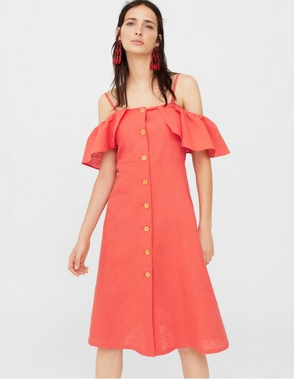 Ruffled linen dress от Mango 