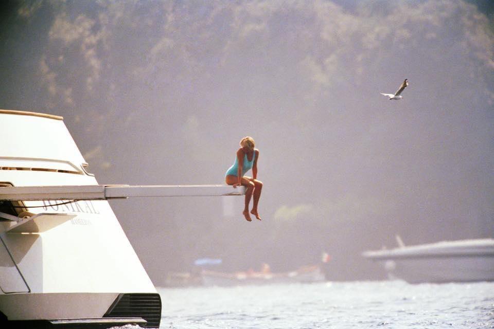 Принцеса Даяна на яхта в Портофино, Италия  1997 г.