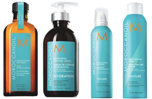 1. Moroccanoil Treatment  2. Moroccanoil Volumizing Mousse 3. Moroccanoil Hydrating Styling Cream 4. Moroccanoil Dry Texture Spray