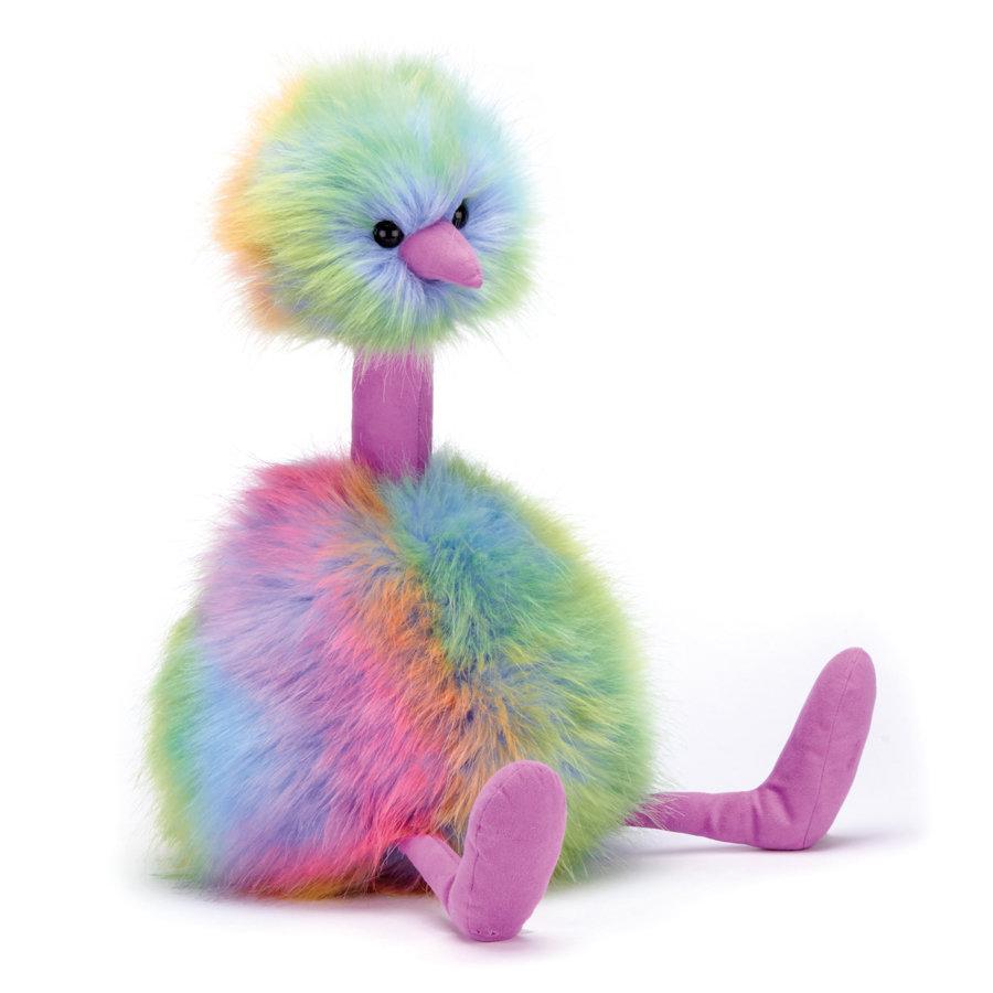 """Jellycat птица """"Rainbow Pompom""""  Очарователна детска играчка с дълги копринени пера в цветни пастелни тонове, велурени крака и клюн. Чудесен партньор за игри! Цена: 58,00 лв."""