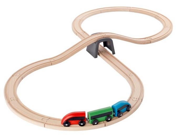 Дървено влакче ИКЕА Начален комплект от 20 елемента. Класически и вечен избор при подаръците! Цена: 15,99 лв