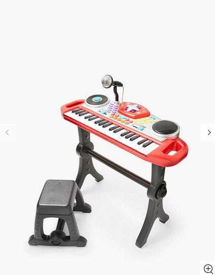 """John Lewis & Partners Rockstar Electronic Keyboard  Ако около вас се навърта """"малка рокзвезда"""", то този подарък би бил точно в целта. Снабден е с мигащи светлини, 8 различни инструмента и ритъм селекции, 5 барабанни звука, темпо контрол, DJ скреч подложка и функции за запис и възпроизвеждане. Цена:74 лв."""