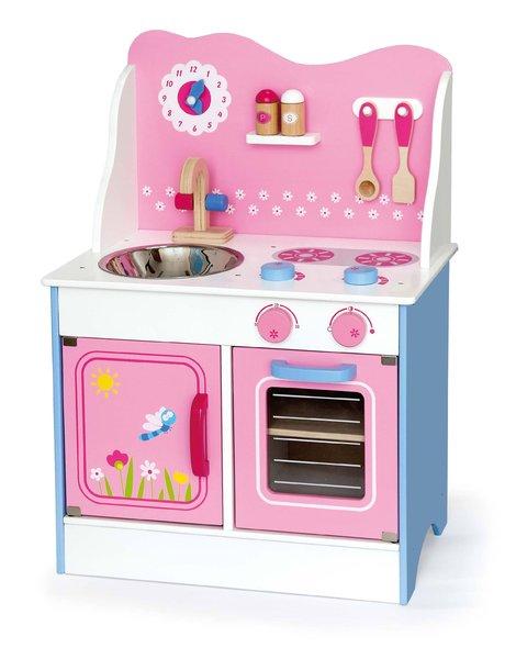 Дървена розова кухня Фея  Кокетната кухня Фея съдържа: шкафче и фурна, мивка и котлон. Копчетата за степени издават характерен звук, а кранчетата на мивката се въртят в двете страни. Комплектът съдържа дървени аксесоари: лъжица, шпатула, солници за сол и пипер, и часовник, на който детето може механично да придвижва стрелките.  Цена: 199,00 лв.