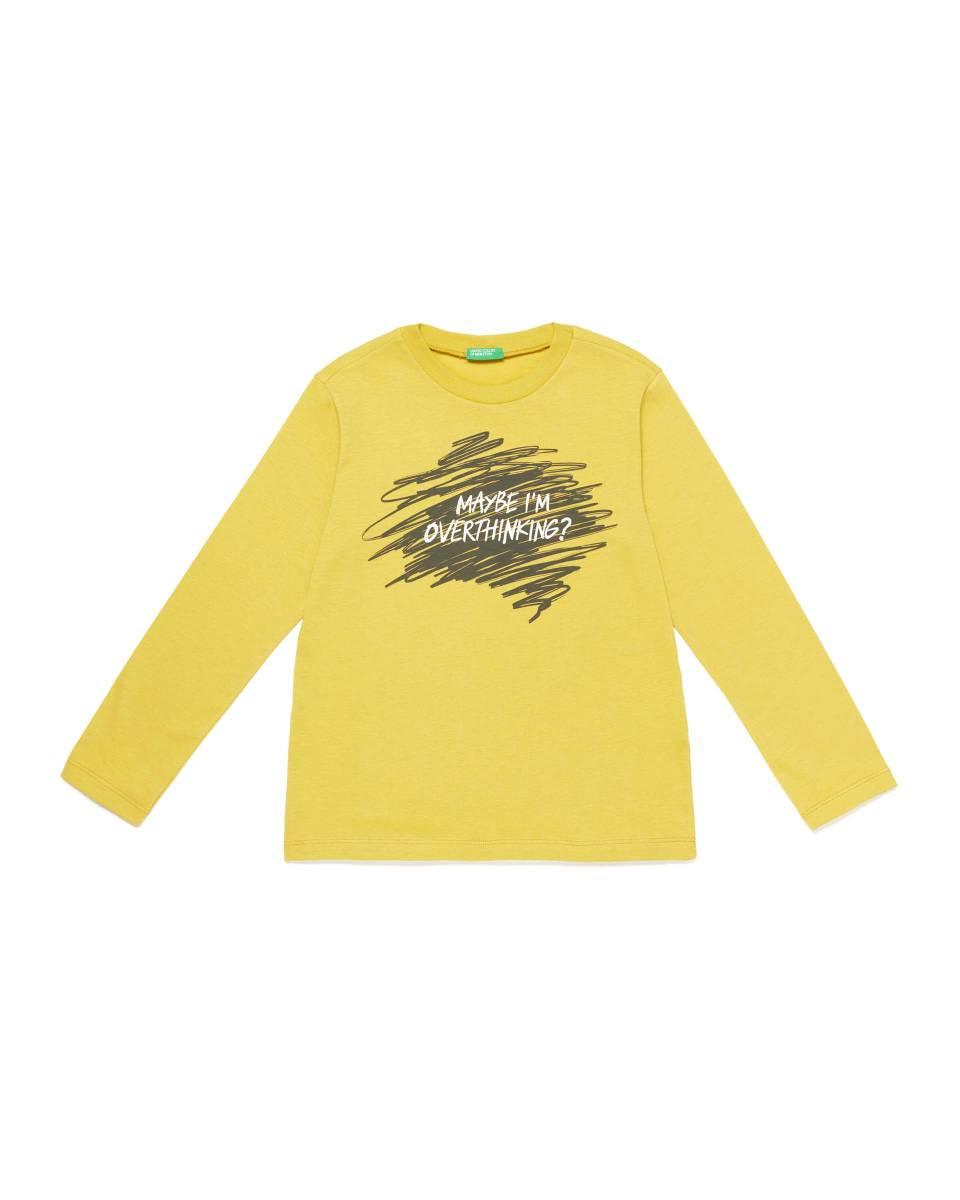 """Блуза с дълъг ръкав Benetton От 100% памук със супер готин надпис """"Maybe i'm overthinking"""" Maybe we all are, но не и за избора на блуза. Цена: 29,90 лв."""