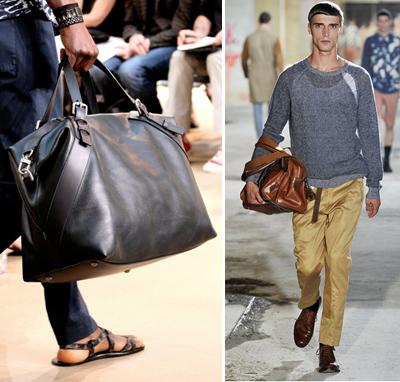 Купи си най-накрая кожената чанта, знаем, че ти харесва!С къси дръжки, удобна е ие достатъчно мъжествена, колкото и да се съмняваш в това. Избери размер според това, за какво ще ти служи, но задължително подбери естествена тъмна, не много твърда кожа. Това е инвестиция.Louis Vuitton; Dries Van Noten SS2011