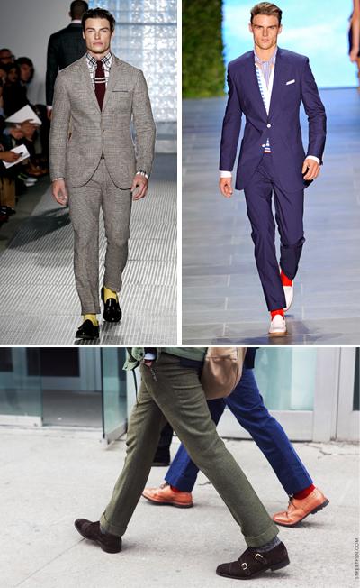 И чорапите душа носят, при това цветна Веднага махай всичко черно, сиво и бяло от шкафа с чорапите. Ще се изненадаш колко енергия може да внесе един цветен чорап дори и в най-смирения и направо скучен аутфит. Просто леко навиваш крачол.Michael Bastian; Tommy Hilfiger SS 2011StreetFSN