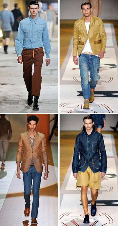 Деним + бежово и кафявоМахаш парката от предишното ни предложение и осртаваш по дънкова риза и кафяв панаталон!Денимът е прекрасен и най-лесен за съчетаване с от най-светлите нюанси на карамелено до най-тъмното кафяво. Dries Van Noten; G-star;Gucci; G-star SS2011