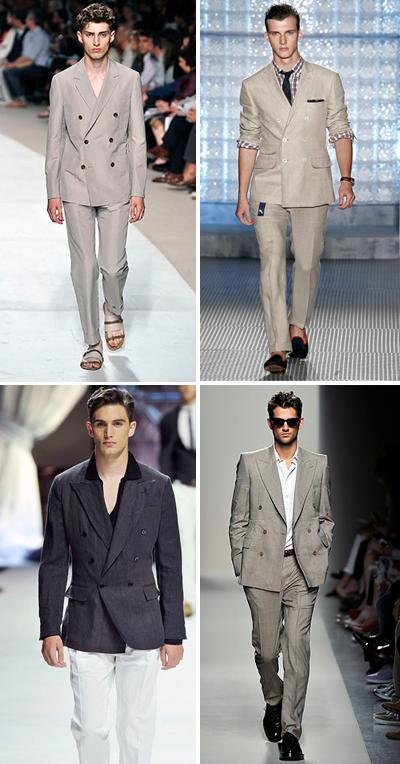 Сако от лека материя с двуредово закопчаване То още не си е тръгнало от модните тенденции, вече n-ти сезон. Но пък е толкова...може би точната дума е секси. Вталено, с четири копчета, от лек памук или лен. Нужни са ти най-много две - едно светло и едно тъмно със златни копчета. Съчетавай го с малко по-тесни панталони, задължително.Hermes; Michael Bastian;Dolce&Gabbana; Bottega Veneta SS2011