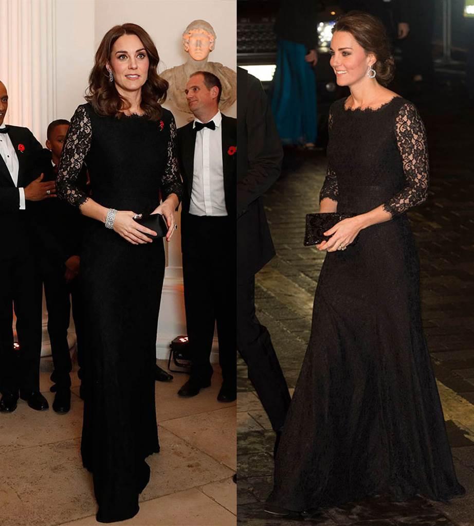 Кейт Мидълтън на Гала вечеря през 2017-та; 2014-та на The Royal Variety Performance.