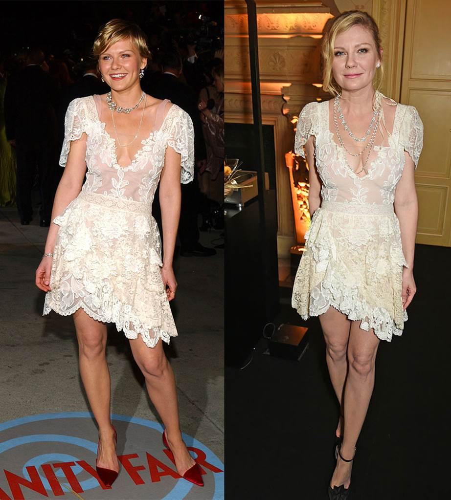 Кирстен Дънст през 2004-та на афтърпартито Vanity Fair Oscars; през 2017-та по време на Chopard парти.