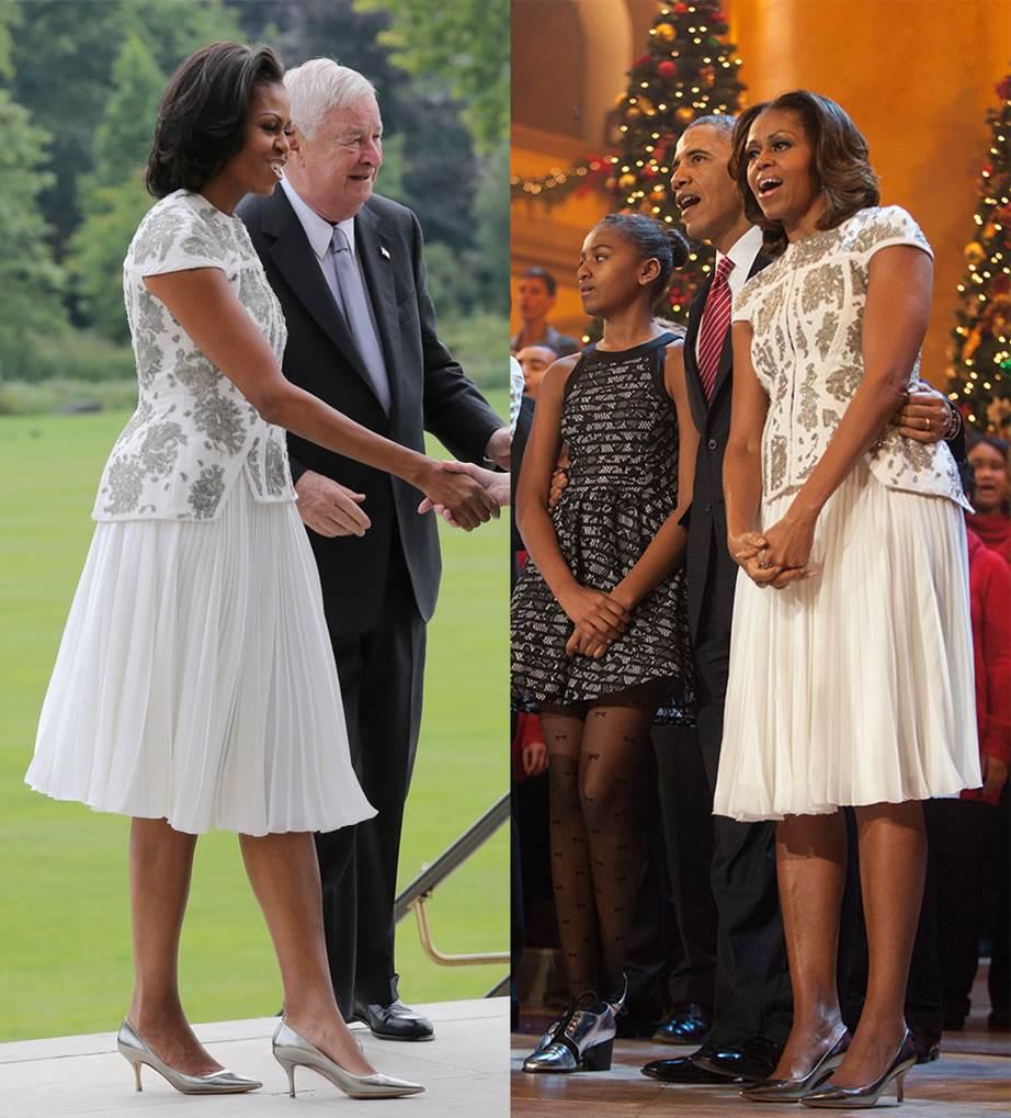Мишел Обама през 2013-та на среща с британската кралица; отново през 2013-та на Коледа.