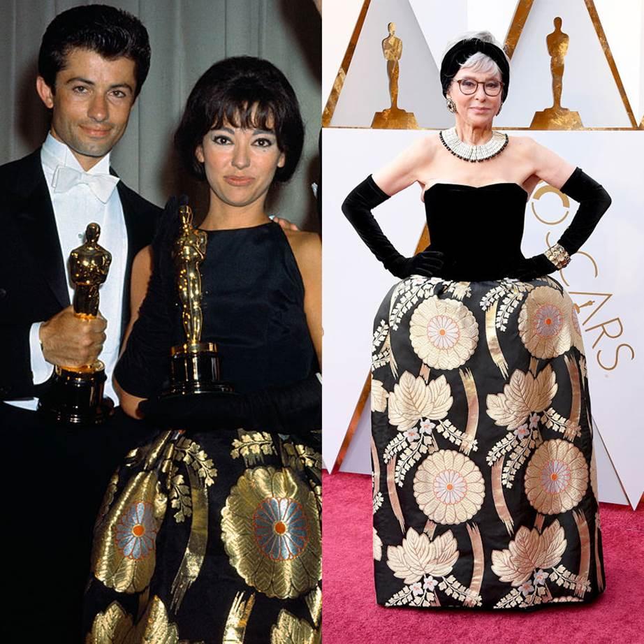 Рита Морено през 1962-ра на Оскарите; през 2018-та, отново на Оскарите, 56 години по-късно.