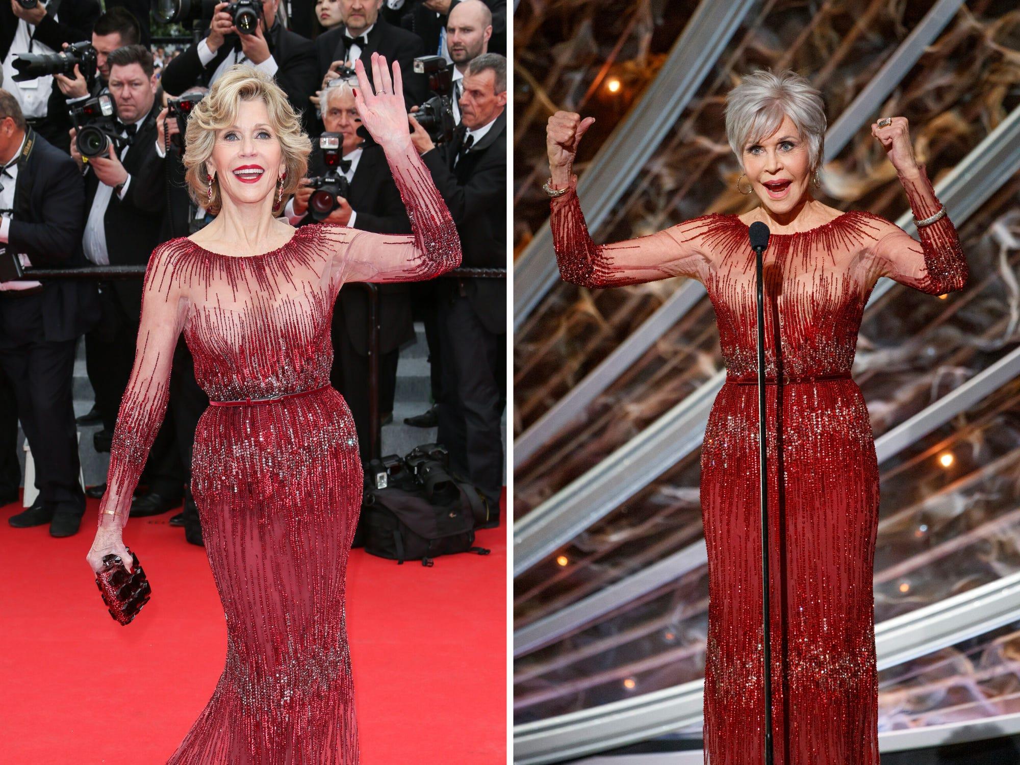 Джейн Фонда през 2014-та по време на фестивала в Кан; през 2020-та на наградите Оскар.
