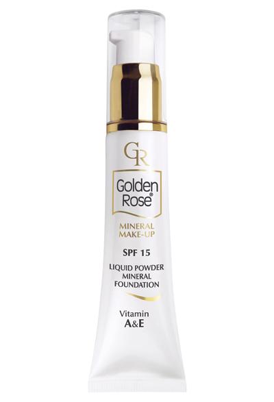 """Golden Rose Минерален фон дьо тен, SPF 15 Чудесен продукт, който съчетава крем за лице и матиращ продукт в едно. Поднесен в красива опаковка фон дьо тенът на Golden Rose съдържа витамини А & Е, има дълготрайно покритие и е разработен по формула, която се адаптира към тена на кожата. Не съдържа парабени, талк, нито изкуствени аромати. В текстурата си има няколко активни минерални съставки - цинк, слюда, силиций, каолин, мед, манган и магнезий, обогатена и с Витамини, натурални масла и UV фактор SPF 15. Стои естествено, без неприятния ефект на """"маска"""". Водоустойчива формула, която е подходяща за нормална към суха кожа. 12.90 лв."""