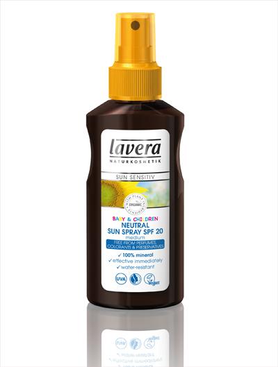 BABY & CHILDREN NEUTRAL  SUN SPRAY SPF 20 от серията THE LAVERA SUN SENSITIV 100 % натурална, без ароматизатори, специално разработена за деликатната бебешка и детска кожа. Съдържащите се био масло от нощна свещичка и био  слънчогледово олио успокояват и подхранват кожата. Бета-глюканът получен от натурална мая защитава силно чувствителната кожа. Без цветни, билкови екстракти и етерични масла.   Цена 19,50 лв