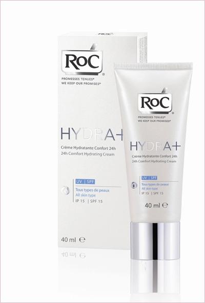 ХИДРАТАЦИЯ 24 часа - Roc Hydra+Light 40ml UV 40ml Великолепен е, има тройно действие -първо, привлича, после задържа водата и накрая възстановява резервите от подхранващи вещества, за да хидратира кожата непрестанно в рамките на деня. Съдържа D-panthenol - дериват на витамин B5,има успокояващи свойства. Съдържа и витамин Е - добре известен с антиоксидантните си свойства.Цена 34.20 лв.