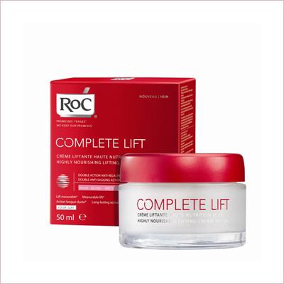 COMPLETELIFT HIGHLY NOURISHING LIFTING CREAM  50 mlROC - силно подхранващ крем за повдигане на контура, СЗФ 20 Технология с двойно действие против отпускането. Възстановява мигновено и трайно формата на лицето, съдържа растителен екстракт от гръмотрън, койтостимулира производството на еластин. Съдържа още UVA и UVB филтри за защита, попива бързо благодарение на леката си текстура.  Има изключително приятен аромат на зелен флорален мускусен. А резултати: Кожата ни е силно подхранена, с чувство за мекота и комфорт. Изглежда видимо повдигната и контурът на лицето изглежда ремоделиран.Цена 58.13 лв.