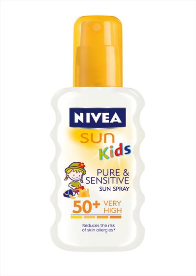 NIVEA SUN FOR KIDS PURE & SENSITIVE Предлага надеждна слънчева защита за чувствителната кожа на децата, не съдържа ароматизатори, оцветители и консерванти. Продуктите са дерматологично тествани за съвместимост с кожата под наблюдението на педиатри. Цена 25.70 лв.