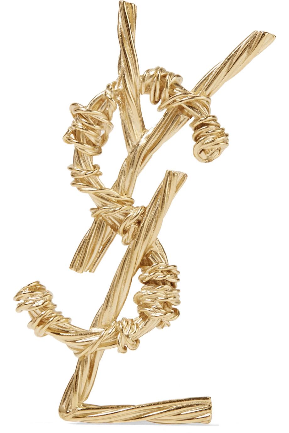 Златиста брошка Saint Laurent от Net-a-porter, 778лв.