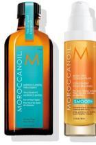 1. Moroccanoil Treatment 2. Moroccanoil Blow-Dry Concentrate 3. Moroccanoil Root Boost 4. Moroccanoil Tourmaline Ceramic Hair Dryer 5. Moroccanoil Paddle Brush 6. Moroccanoil Glimmer Shine  7. Moroccanoil Luminous Hairspray Medium
