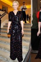 """Кейт Бланшет на официална вечеря в чест на Giorgio Armani през 2014-та; през 2019-та по време на наградите """"Жена на годината"""" на Harper's Bazaar UK."""
