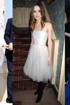 Кийра Найтли рециклира сватбената си рокля, модифицирайки дори ръкавите й, за да я носи по няколко различни начина.