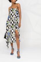 Off-White Checkerboard Floral-print Slip Dress 1639лв