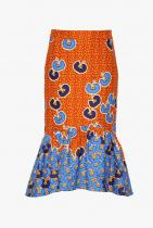 Stella Jean Ruffled Printed Cotton Twill Midi Skirt 657лв